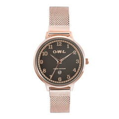 Ladies rose gold mesh watch with calendar
