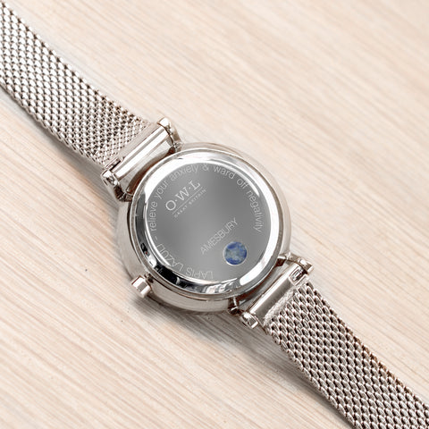Small silver mesh watch watch blue lapis lazuli set