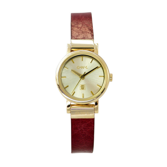 Ladies small gold watch with a dark red leather strap