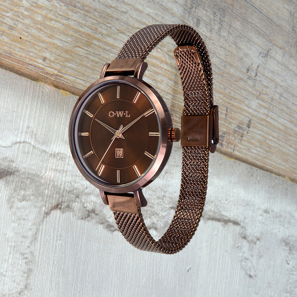 Ladies brown mesh watch with rose gold highlight details