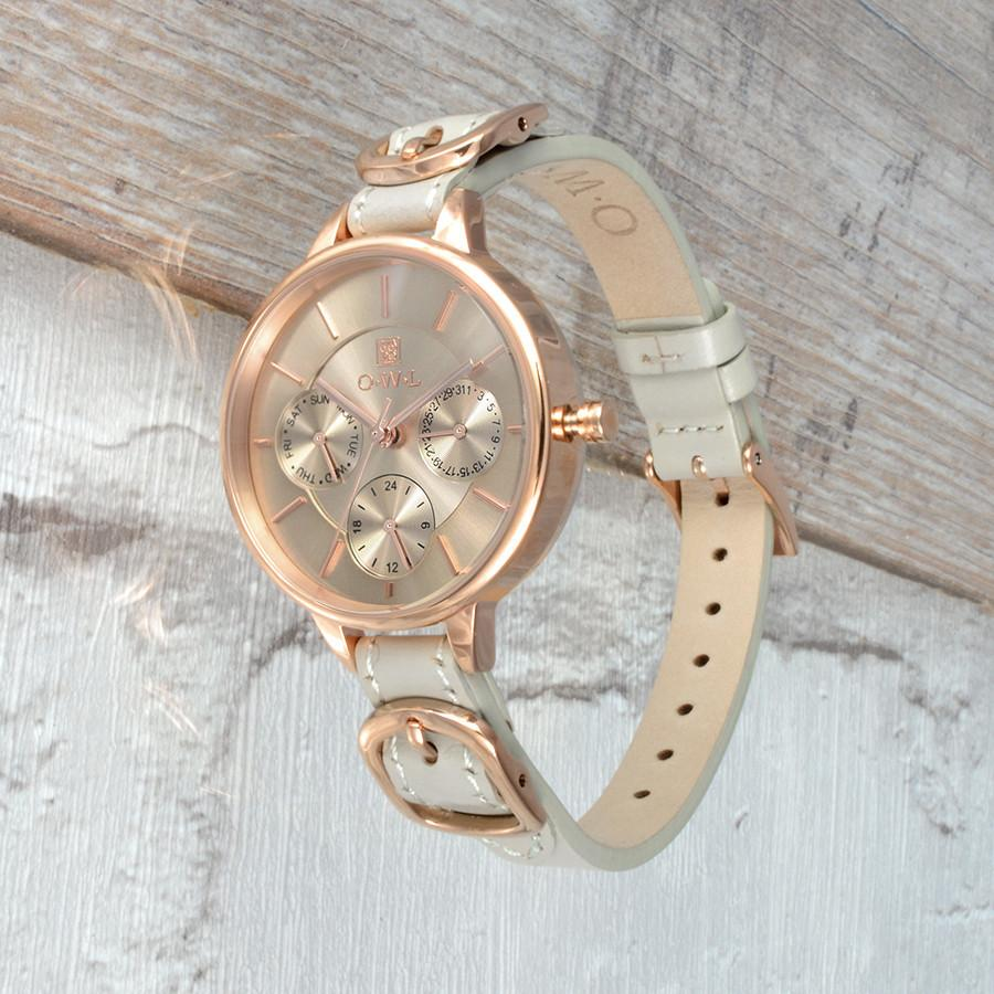 CARNABY MINK AND ROSE GOLD LEATHER STRAP WATCH
