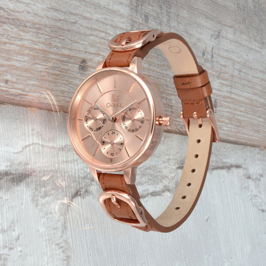 CARNABY TAN AND ROSE GOLD LEATHER STRAP WATCH