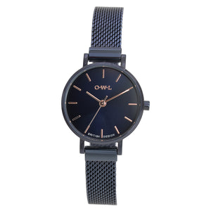 ASHBOURNE NAVY SMALL MESH WATCH - OWL watches