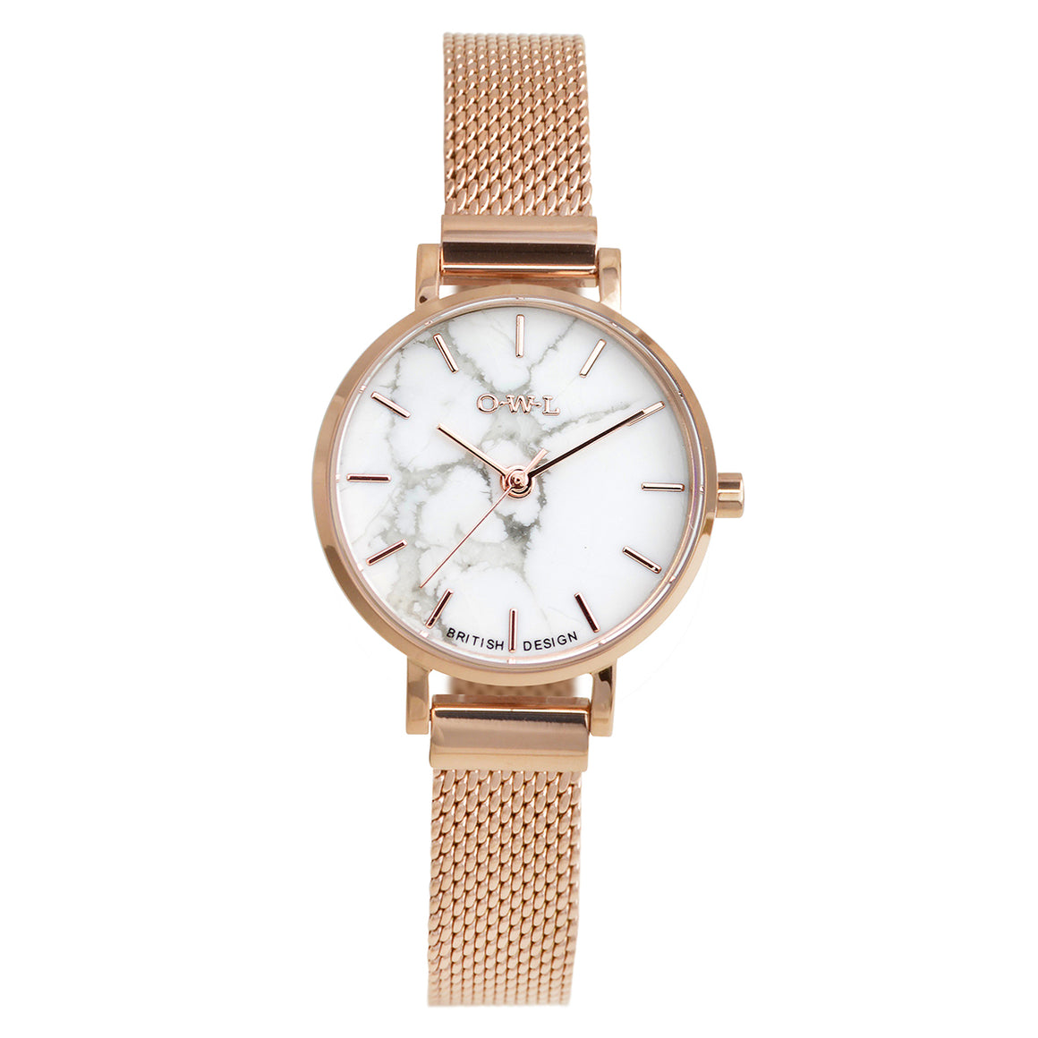 Amesbury Rose gold mesh watch with a genuine Howlite stone dial - OWL watches
