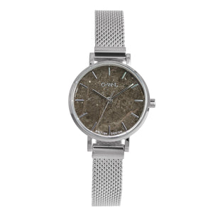 Amesbury Silver mesh watch with a Grey Marble Dial - OWL watches