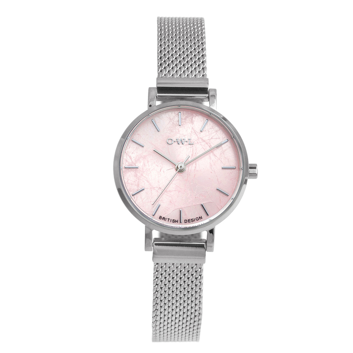 Amesbury Silver mesh watch with a genuine Rose Quartz Dial - OWL watches