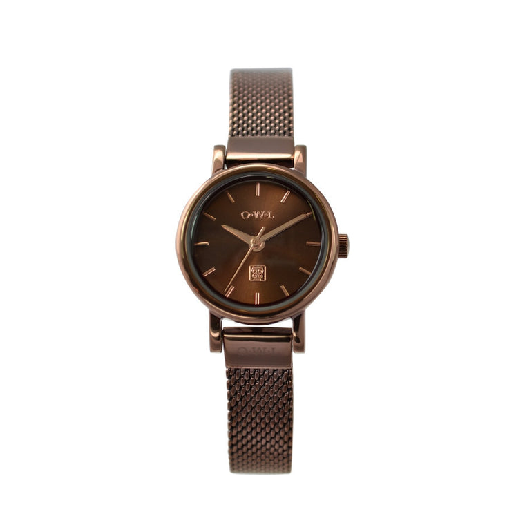 Small ladies mesh bracelet watch in chocolate brown with rose gold highlights