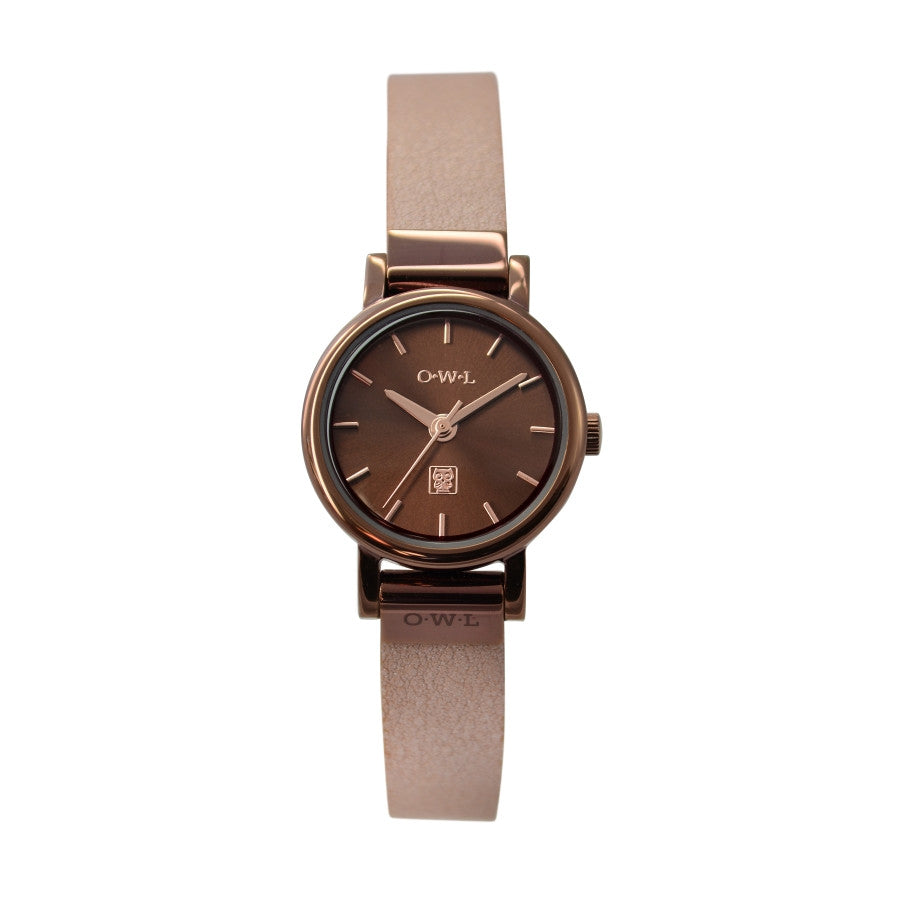 ASCOT CHOCOLATE AND NUDE LEATHER LADIES WATCH - OWL watches