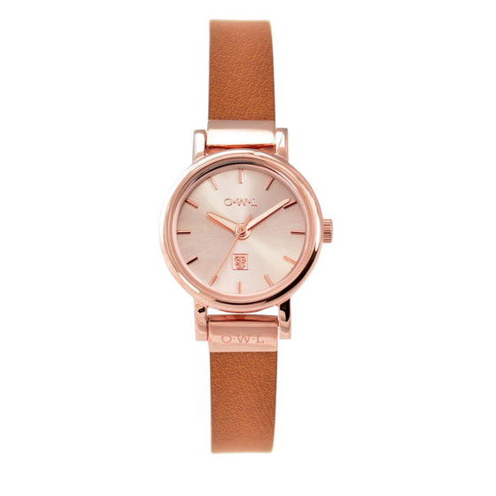 small ladies rose gold watch on tan leather