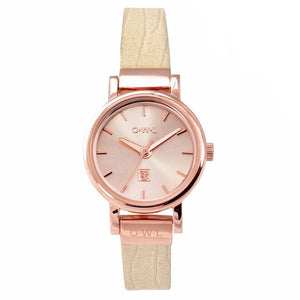 ASCOT ROSE GOLD AND METALLIC ROSE LEATHER WATCH - OWL watches