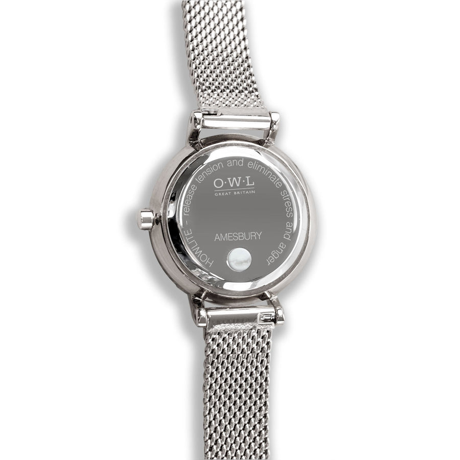 Amesbury Silver mesh watch with a genuine Howlite Dial - OWL watches