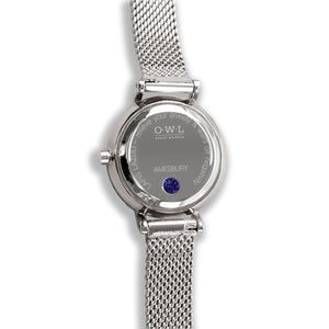 Amesbury Silver mesh watch with a genuine Lapis Lazuli Dial