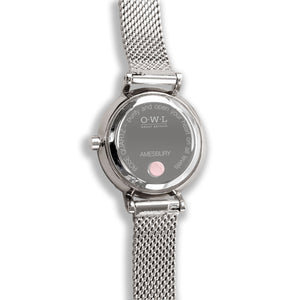 Amesbury Silver mesh watch with a genuine Rose Quartz Dial