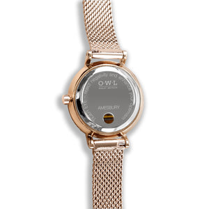 Amesbury Rose gold mesh watch with genuine Tiger eye - OWL watches