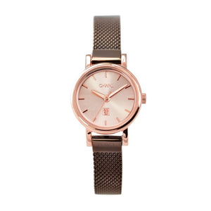 ASHBOURNE ROSE GOLD & CHOCOLATE MESH WATCH - OWL watches