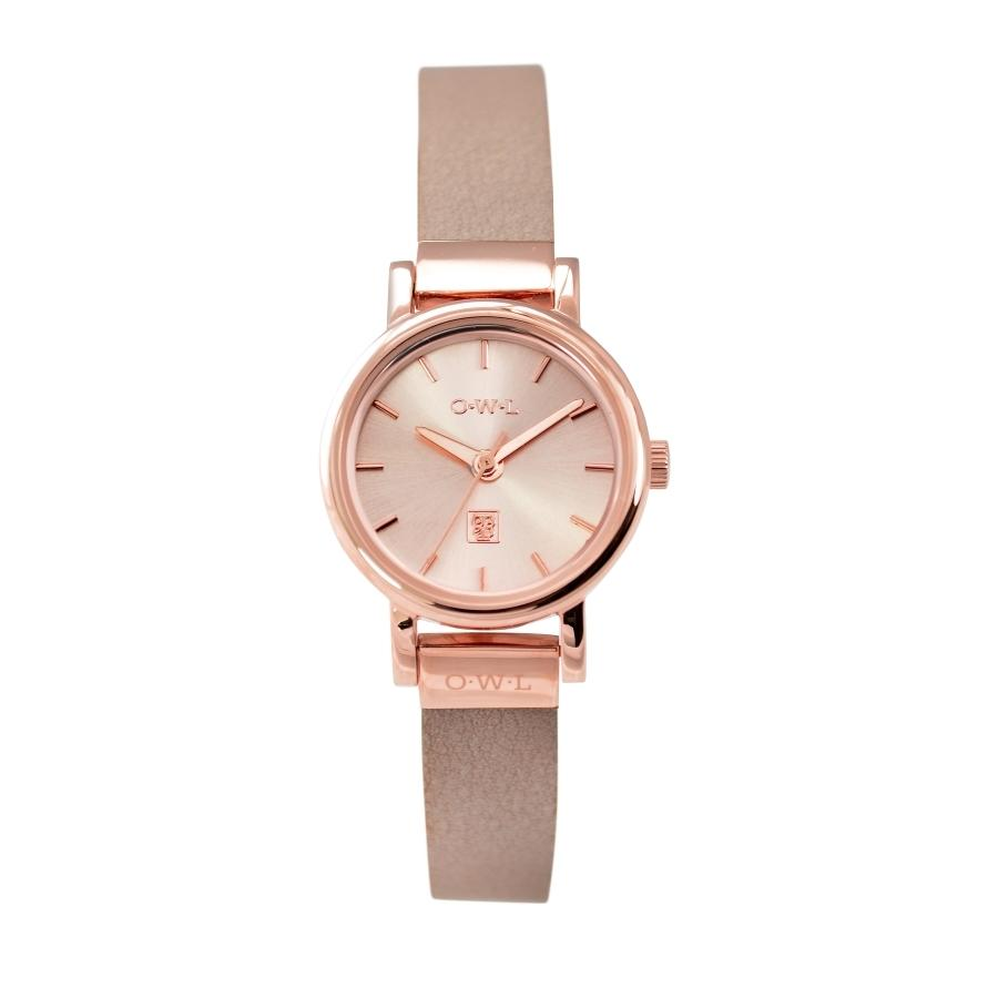 ASCOT ROSE GOLD AND DUSKY PINK LEATHER LADIES WATCH - OWL watches
