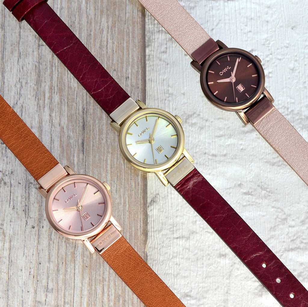 small ladies watch on leather in 3 colours