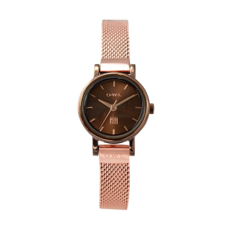 ASHBOURNE CHOCOLATE WATCH WITH ROSE GOLD MESH STRAP - OWL watches