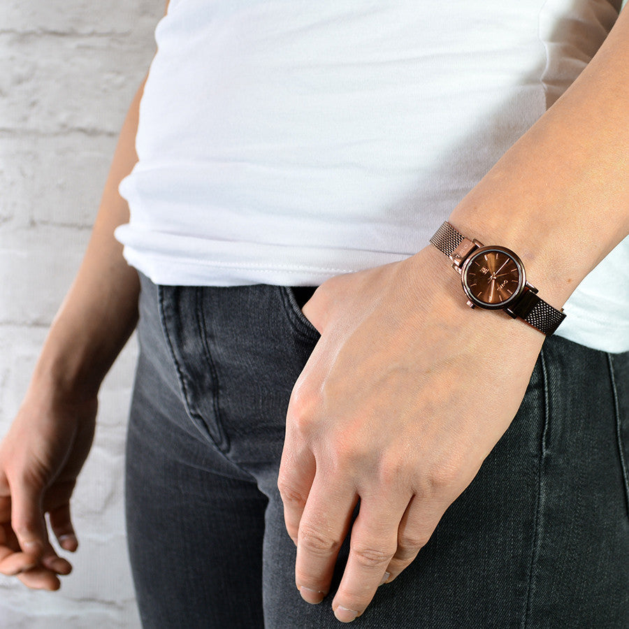 small ladies mesh watch in brown