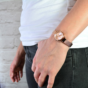 ASHBOURNE ROSE GOLD SMALL MESH WATCH - OWL watches