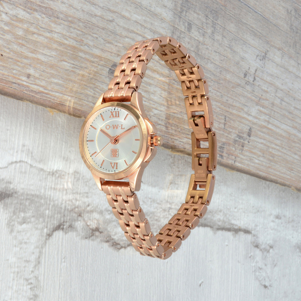 Small rose gold vintage style bracelet ladies watch