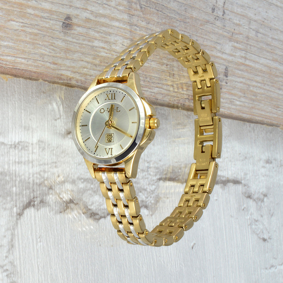 small two tone vintage style ladies bracelet watch