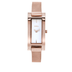 BROMPTON ROSE GOLD CASE WITH A CLEAN WHITE DIAL & ROSE MESH STRAP. - OWL watches