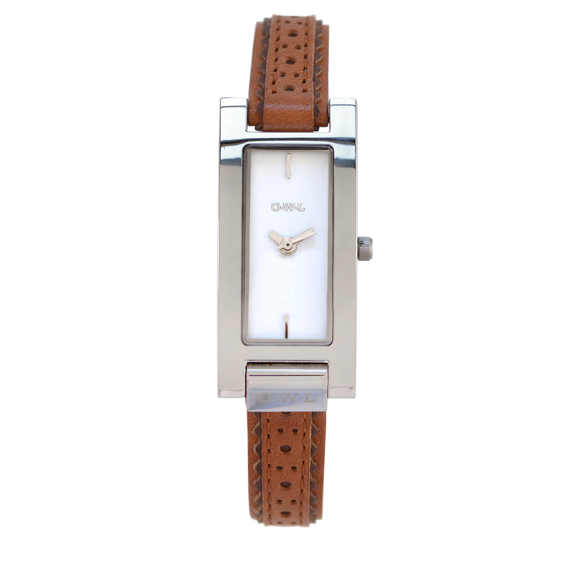 BROMPTON STEEL CASE WITH A CLEAN WHITE DIAL & A TAN BROGUE INSPIRED STRAP - OWL watches