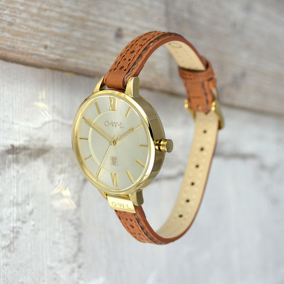 BELFAST GOLD AND TAN BROGUE LEATHER STRAP WATCH