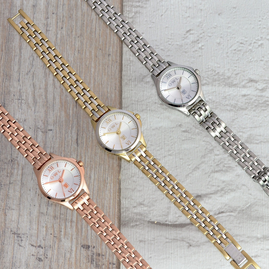 small feminine ladies bracelet watch available in rose gold, silver or gold and silver mix