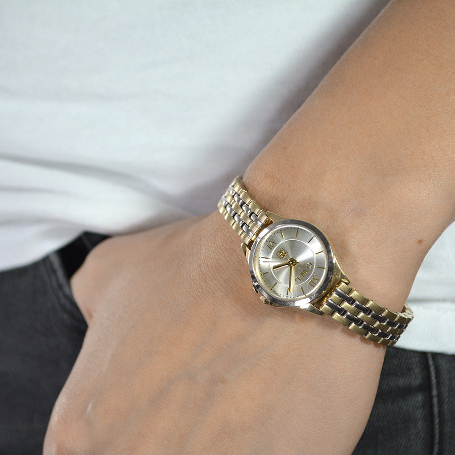 easy to wear two tone pretty ladies watch