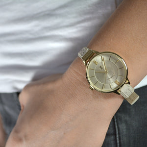 BELFAST GOLD AND MINK BROGUE LEATHER STRAP WATCH - OWL watches