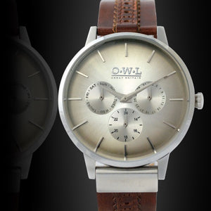 PEMBREY GENTLEMAN'S BLACK & BROWN STRAP WATCH - OWL watches