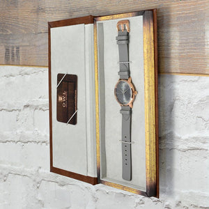 WALLOP GENTLEMAN'S ROSE GOLD & LIGHT GREY LEATHER STRAP WATCH - OWL watches