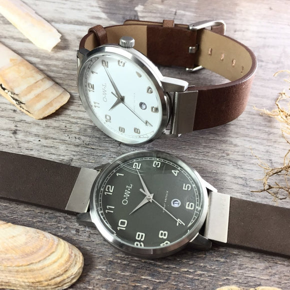 Mens Silver Watch with White Dial and Brown leather Strap