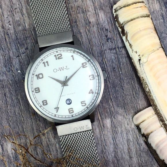 BRANCASTER STEEL & SHELL WHITE DIAL & STEEL MESH STRAP WATCH
