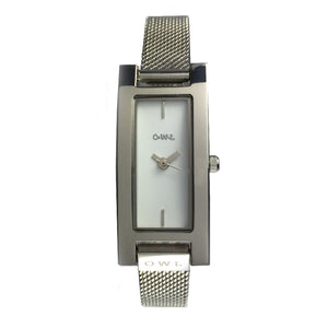 BROMPTON STEEL CASE WITH SHELL WHITE DIAL & STEEL MESH STRAP. - OWL watches