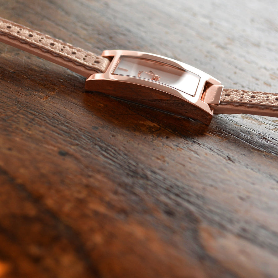 BROMPTON ROSE GOLD CASE WITH A SOFT PINK BROGUE STRAP - OWL watches