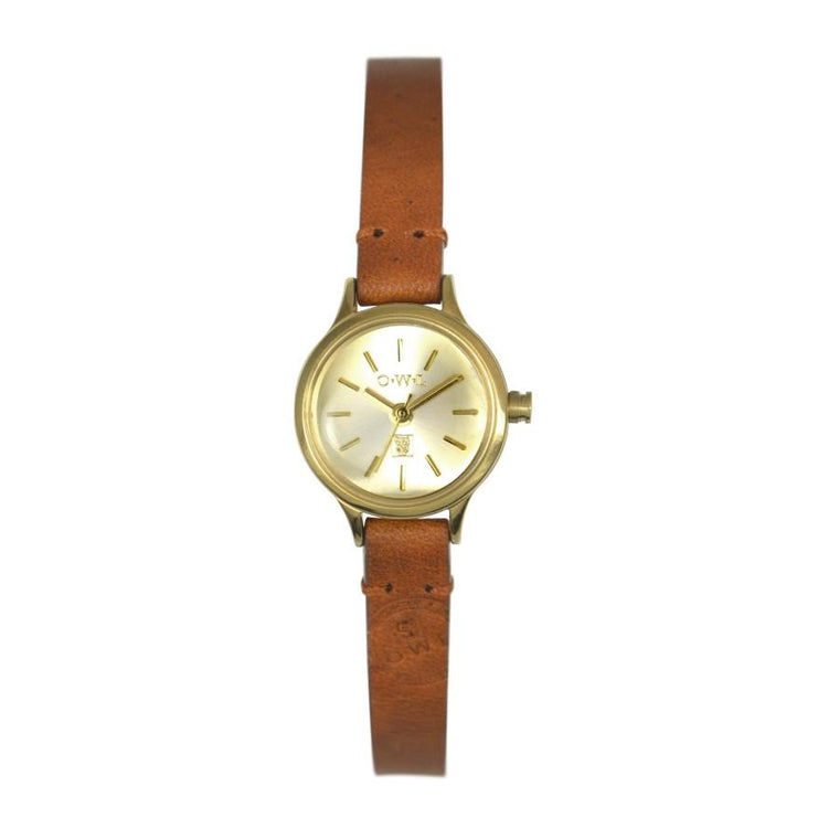 mini ladies tan and gold leather strap watch
