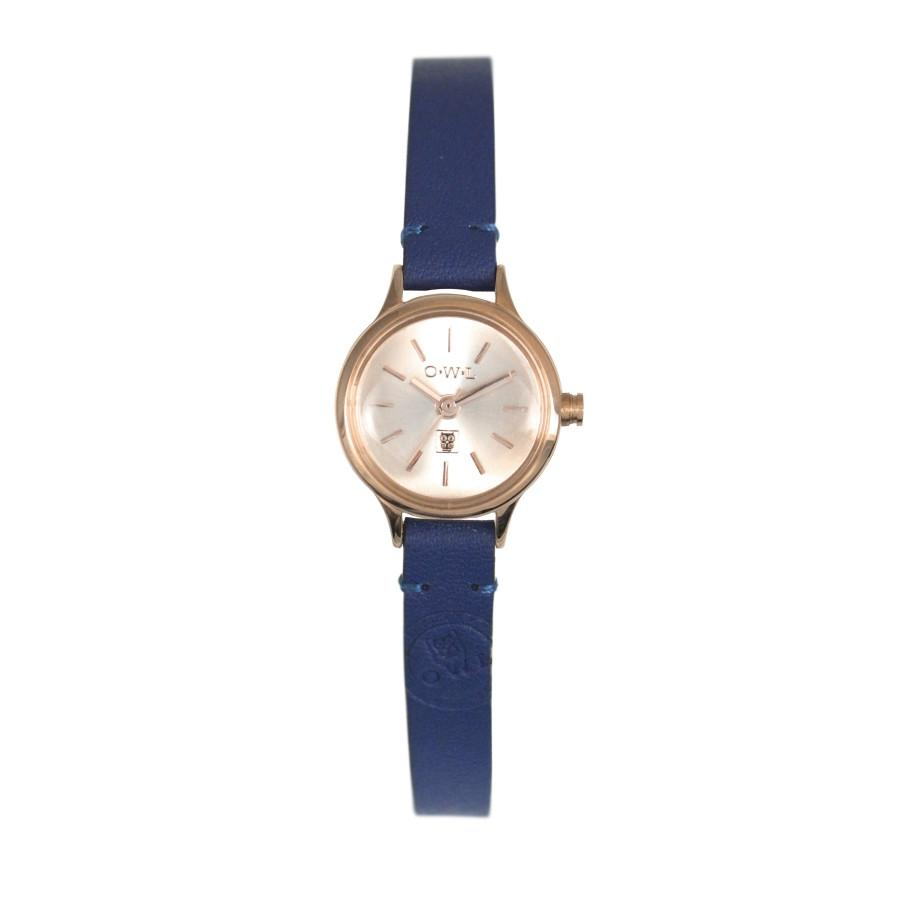 mini ladies navy blue and gold leather strap watch
