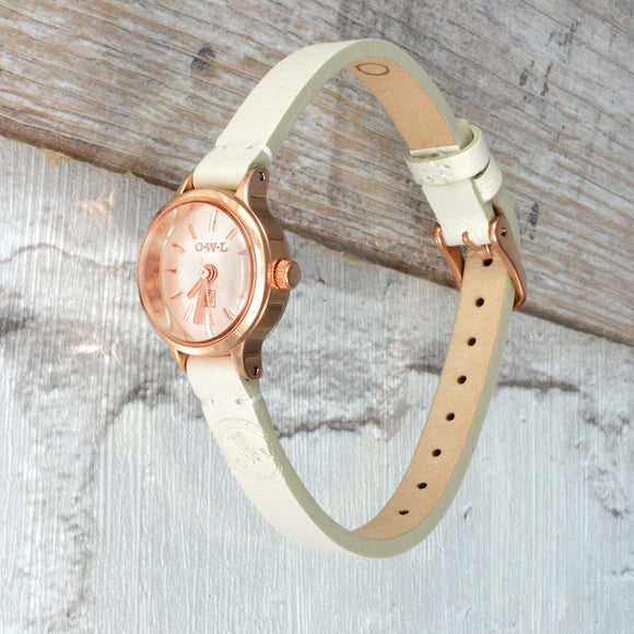 mini ladies navy mink and rose gold leather strap watch
