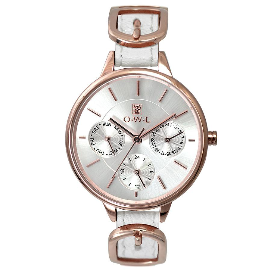 Clean open dial rose gold leather strap watch with rose gold buckle detail