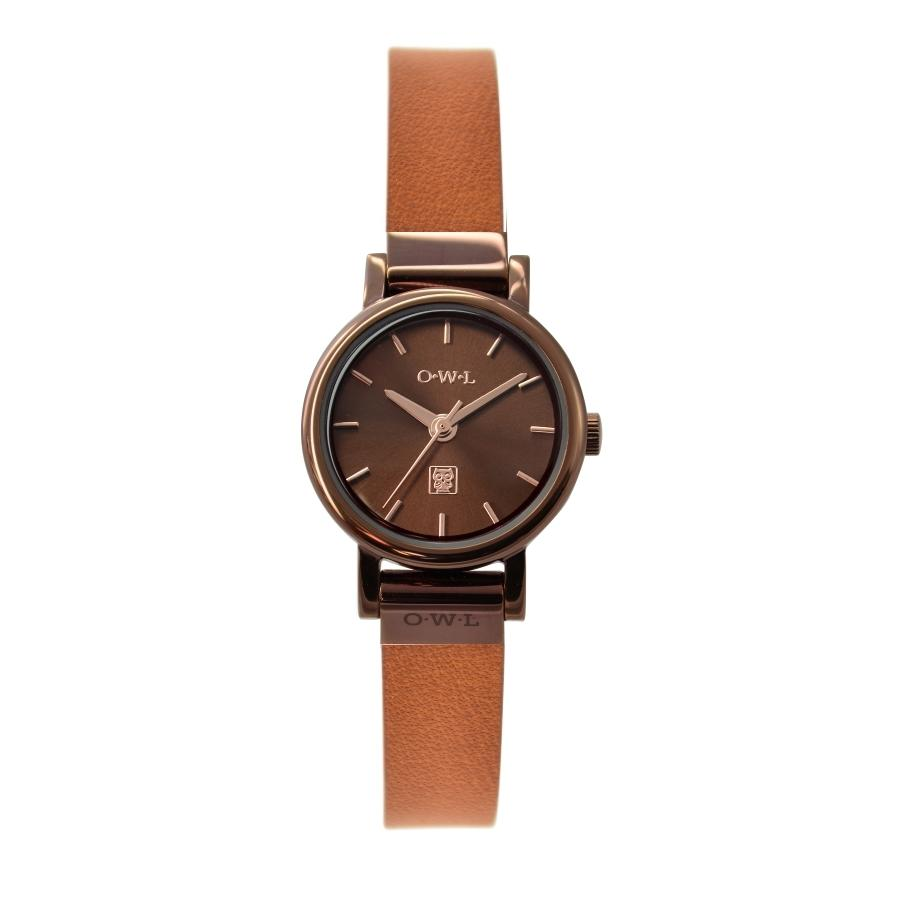 ASCOT CHOCOLATE AND TAN LEATHER LADIES WATCH - OWL watches