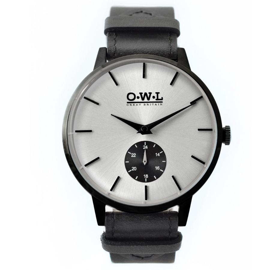 Black case and strap and Silver dial men's Watch