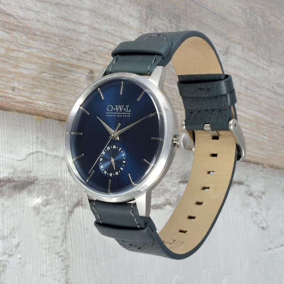 Filton Men's Grey and Silver Watch with navy blue dial