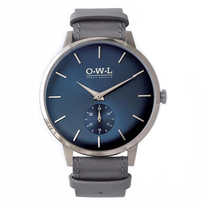 FILTON GENTLEMAN'S BLUE & LIGHT GREY LEATHER STRAP WATCH - OWL watches