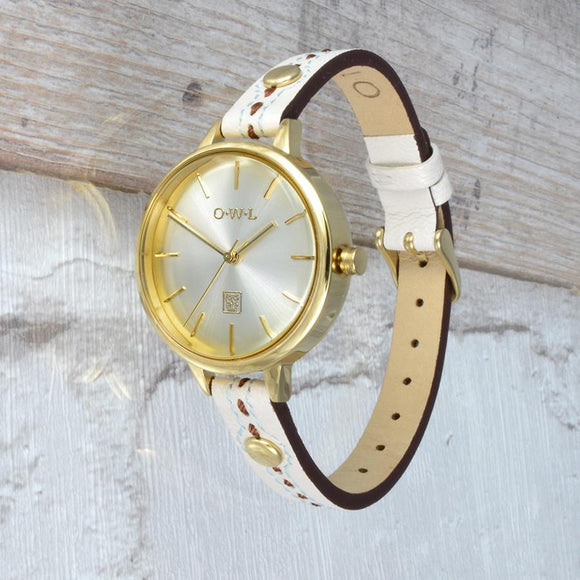 Beautiful leather strap watch made from soft cream leather