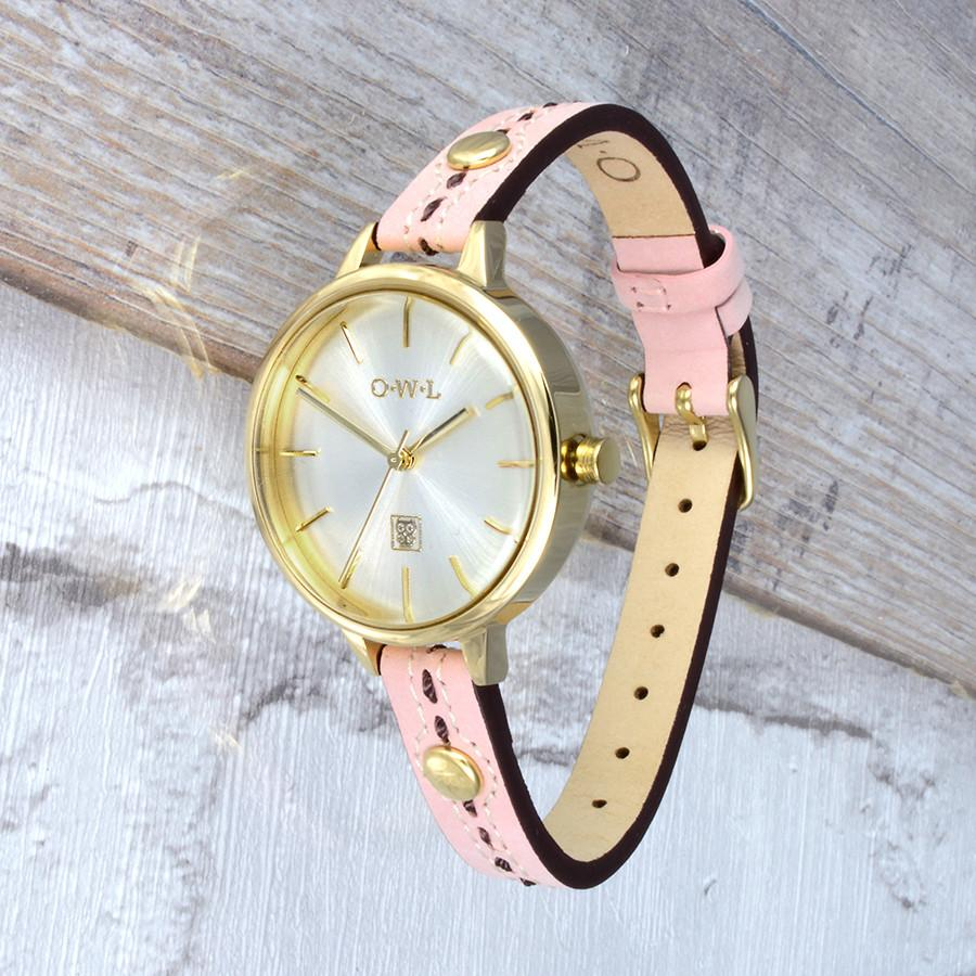 GOLD VINTAGE STYLE WATCH WITH SOFT PINK WITH STITCH DETAIL