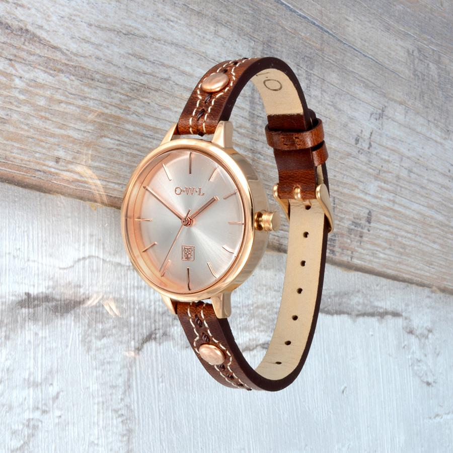ROSE GOLD VINTAGE STYLE WATCH WITH OILY LEATHER AN STITCH DETAIL