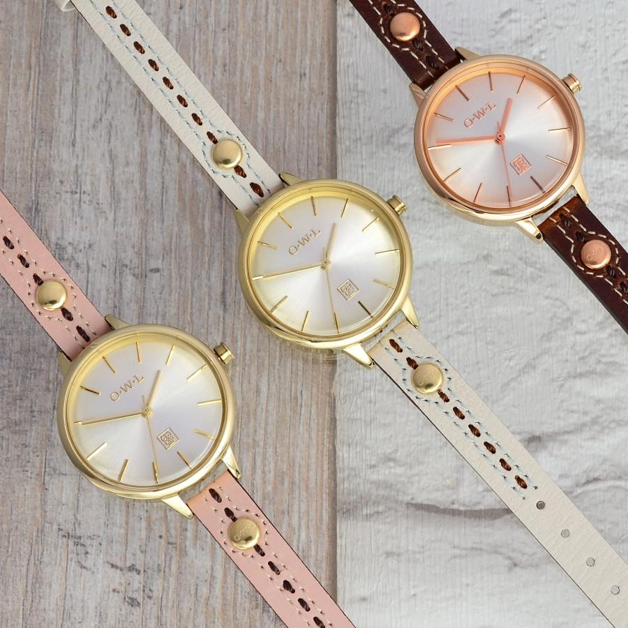 HARROGATE SOFT PINK STITCHED LEATHER STRAP WATCH